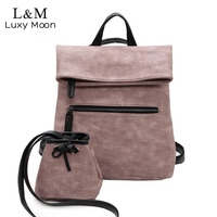 Vintage Leather Backpack Women High Quality Leather Backpacks With Small Pocket Large Black Pink Rucksack Girls