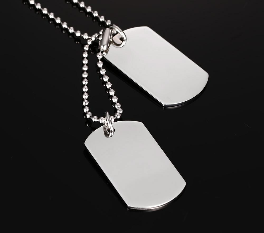 Custom engraved stainless steel double dog tag necklace pendant id custom engraved stainless steel double dog tag necklace pendant id men jewelry 24 chain aloadofball Choice Image