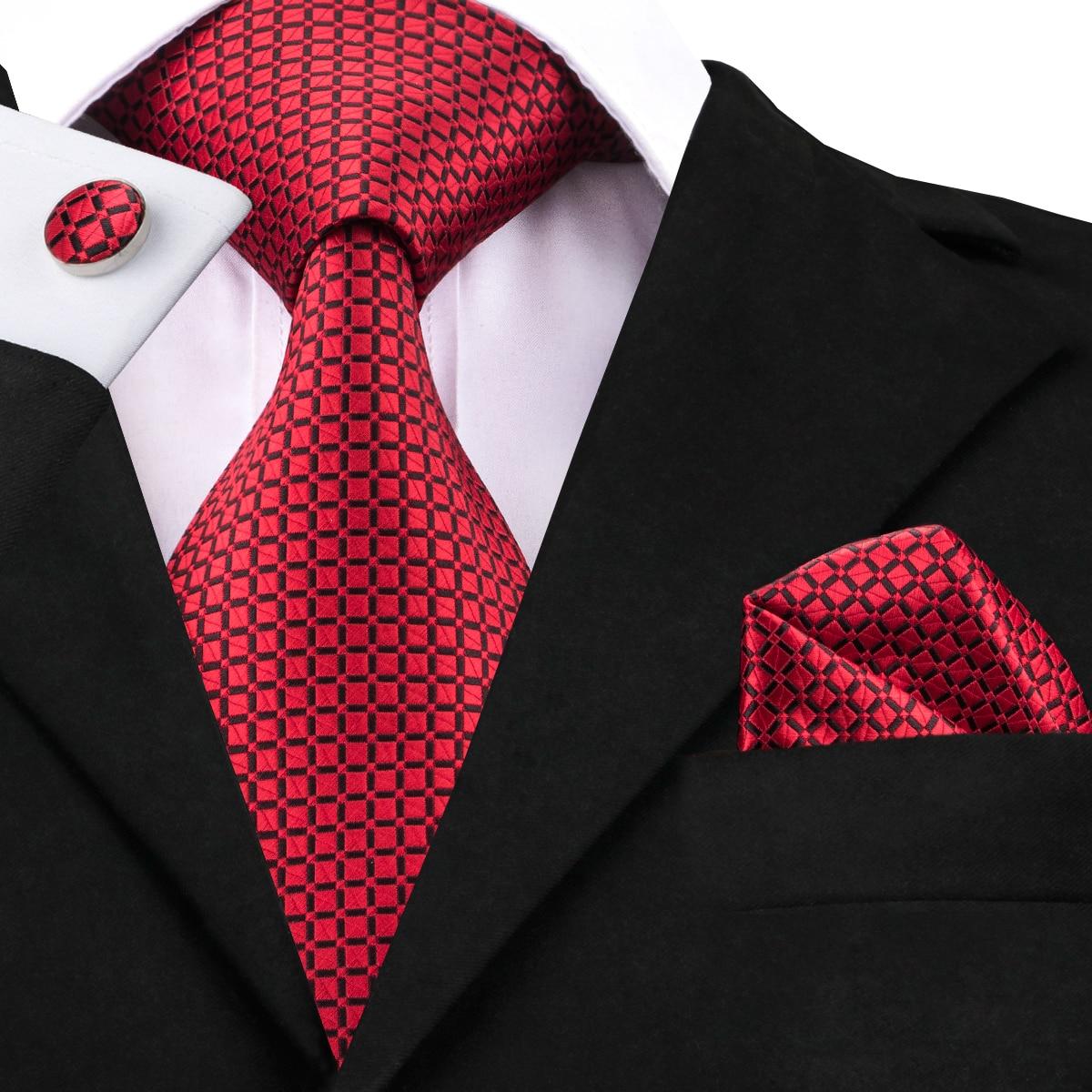 Hi-Tie Classic Plaid Ties For Men Luxury Red Silk Mens Ties Set Necktie Handkerchief Cufflinks For Wedding Party Business C-1573