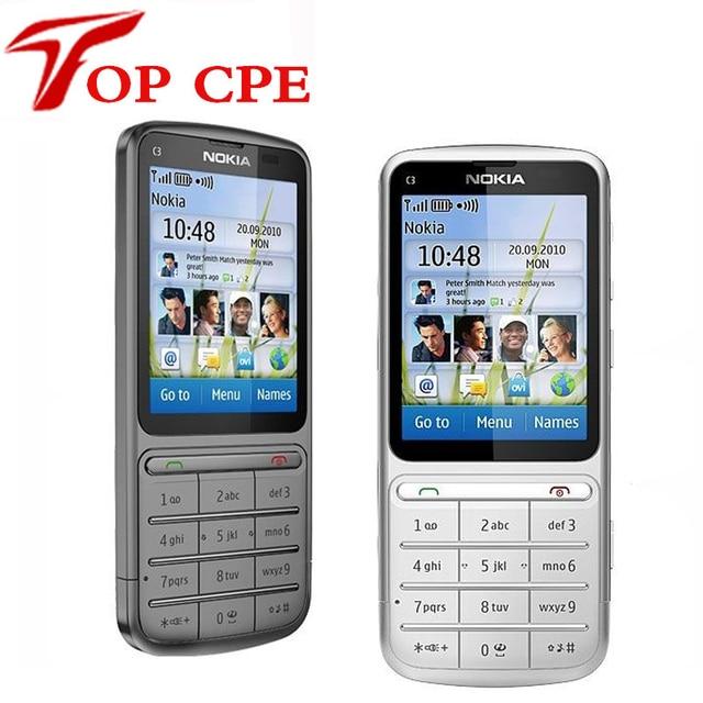 Refurbished NOKIA C3-01 Unlocked 3G,GSM,WIFI,Bluetooth,JAVA,5MP Camera C3-01 Mobile Phone Free Shipping! Russian keyboard
