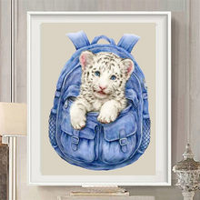 5d diy Diamond Paintings Backpack Tiger Cross Stitch Embroidery Mosaic Full Diamonds Kits Wall Artworks Home Decoration Kid Gift(China)