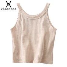 44799dbbd5eb5 Vilacoroa Sexy Crop Top Women TankTops Halter Cotton Cropped T-Shirts  Sleeveless O Neck Halter