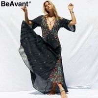 BeAvant Sexy v nek kimono floral bobo dress women Ethnic print beach maxi dress black Casual button loose summer dressess 2019