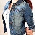 Vintage mujer de manga larga capa delgada de mezclilla corta chaqueta de la mezclilla ocasional prendas de vestir exteriores