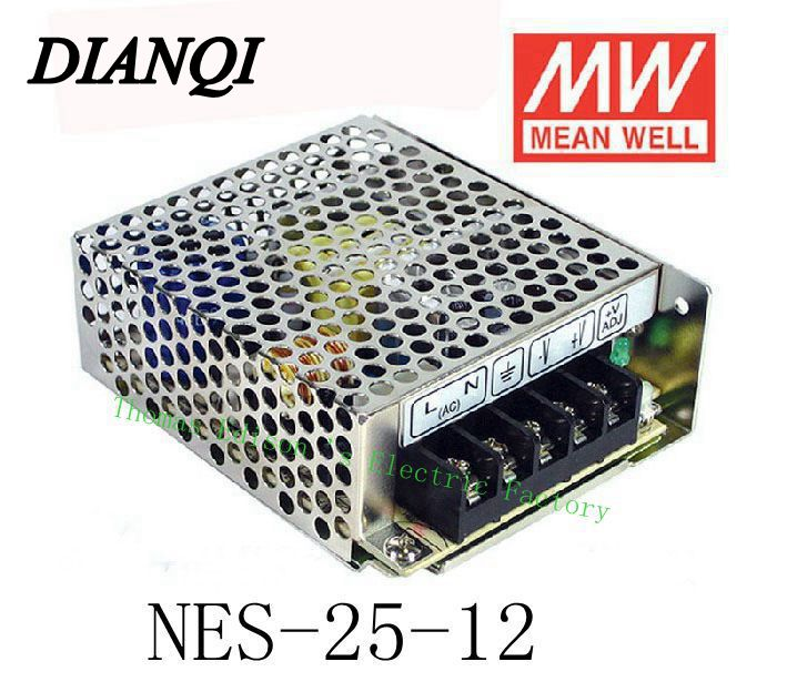 Original MEAN WELL power suply unit ac to dc power supply NES-25-12 25W 12V 2.1A MEANWELL Top quality meanwell 24v 75w ul certificated nes series switching power supply 85 264v ac to 24v dc