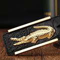 Cinto de negócio dos homens 2016 Designer de luxo da marca cinto cintos de couro genuíno para homens Jeans cintos de crocodilo fivela de cinto masculino