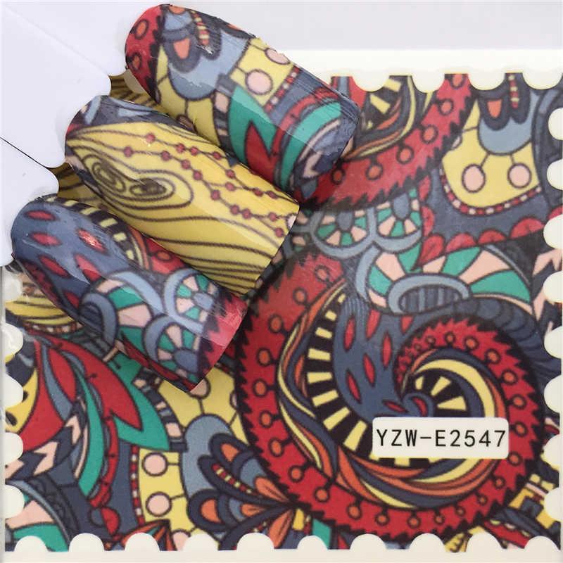 Zko 1 Lembar Stiker Kuku Air Decals Butterfly Floral Hewan Hitam Putih Geometri Slider Manikur Kuku Seni Dekorasi