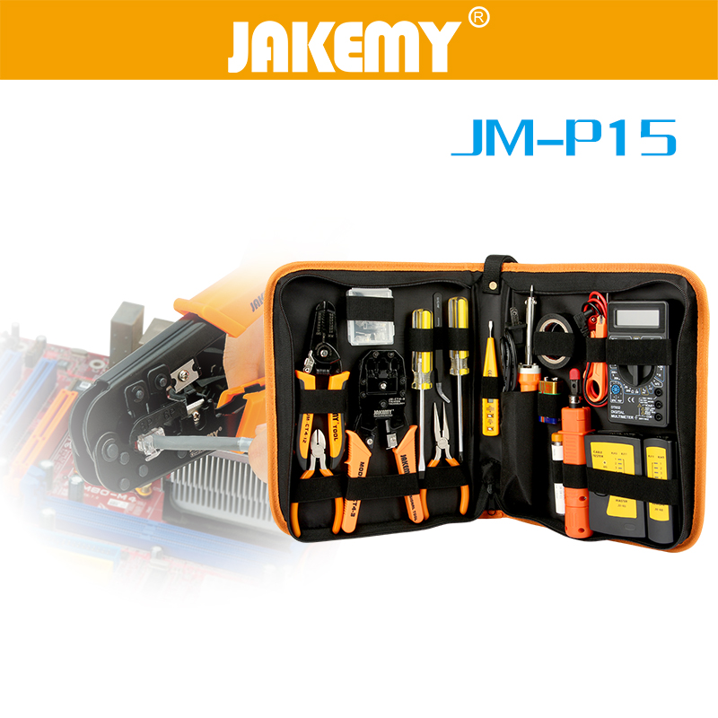 JAKEMY 17Pcs Electronic Maintenance Tools Set Soldering Iron Metal Spudger Pliers Tweezers Digital Multimeter Repair Tools Kit assisted soldering tools sa 10 6pcs maintenance tools to disassemble and clean the board brush hook to push fork cones