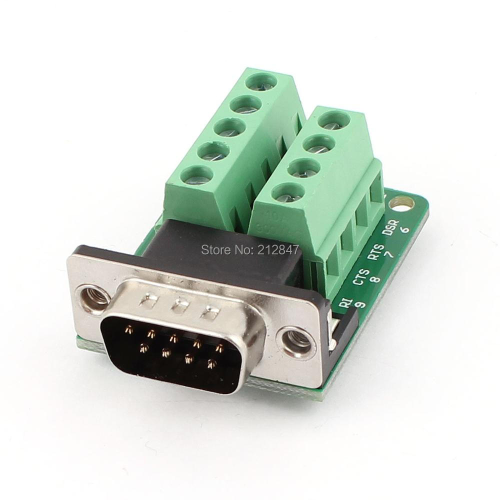 DB9 D-SUB 9 Pin Male Adapter RS232 to Terminal Breakout Board Signal Module 12x serial port connector rs232 dr9 9 pin adapter male