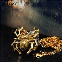 Aranha Colar Aço Inoxidável 316L Gold Tone Inseto Arachanid Tarantula Aranha Halloween Charme Jóias Gótico Goth Gift-27.5