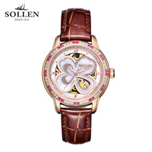 SOLLEN Lucky Clover female high-end diamond watch Italian calfskin strap automatic mechanical women watches kobiet zegarka