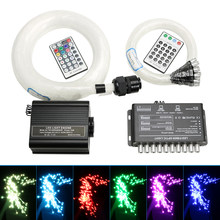 16W RGBW LED Fiber Optic Star Ceiling light Kit 310/335 Strands with 28key remote +4pcs meteros effect+Crystal(China)