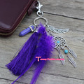 D002Fashion Jewelry 2017 Hot Sale Keychain Keyring Key Chain For Women Purple Key Wallet Valentine's Day Gift Free Shipping