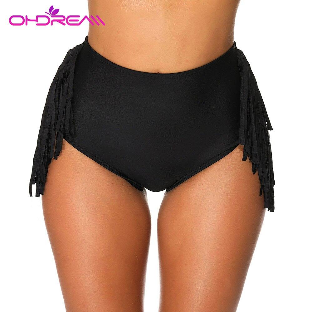 OHDREAM Women Bikini Panties  High Waist Swimwear Bottom Bathing Suit Beach Swim Briefs Side Tassel Beachwear