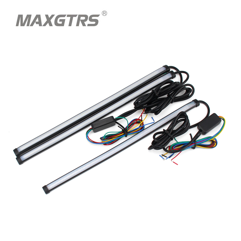 Car Flexible Switchback LED Knight Rider Strip Light For Headlight Sequential Flasher DRL Flowing Amber Turn Signal Lights