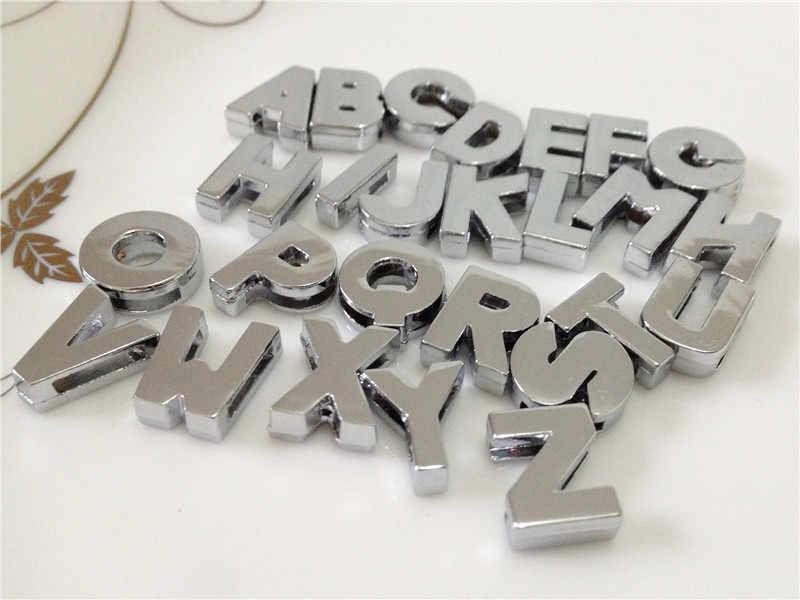 """8 MILÍMETROS DIY Prata Rosto Liso Letras de Slides """"A-Z"""" Cartas Escolher Livremente Ajuste 8 MILÍMETROS DIY Pulseira Cinto SL08"""