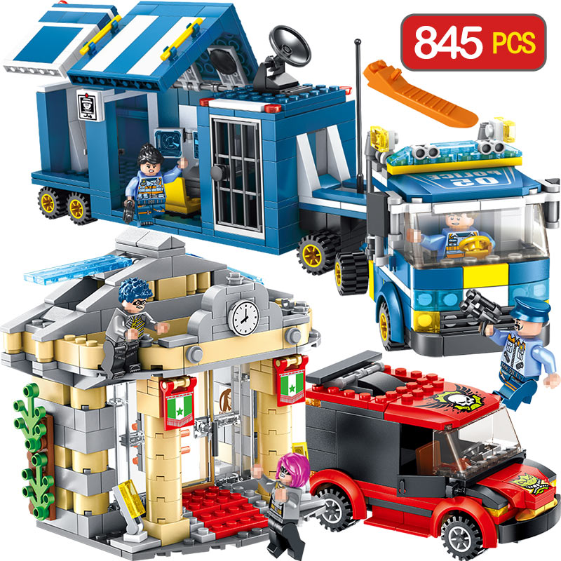 New City Series Blocks Compatible Legoinglys Military Truck Riot Thieves Enlighten Building Bricks Model Children Toys enlighten building blocks navy frigate ship assembling building blocks military series blocks girls