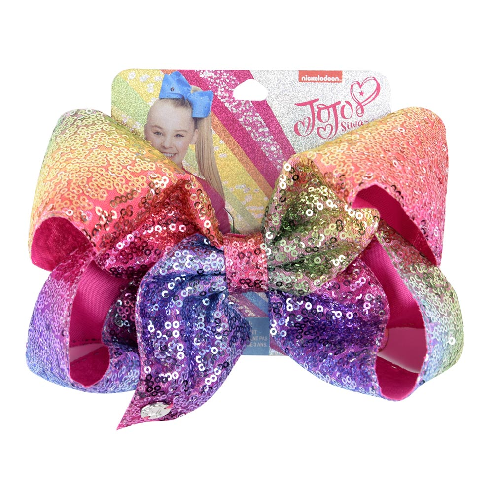 "8"" Sequin Rainbow JoJo Siwa Bow With Hair Clip For Girls Kids Handmade Boutique Knot Jumbo Hair Bow Hairgrips Hair Accessories(China)"