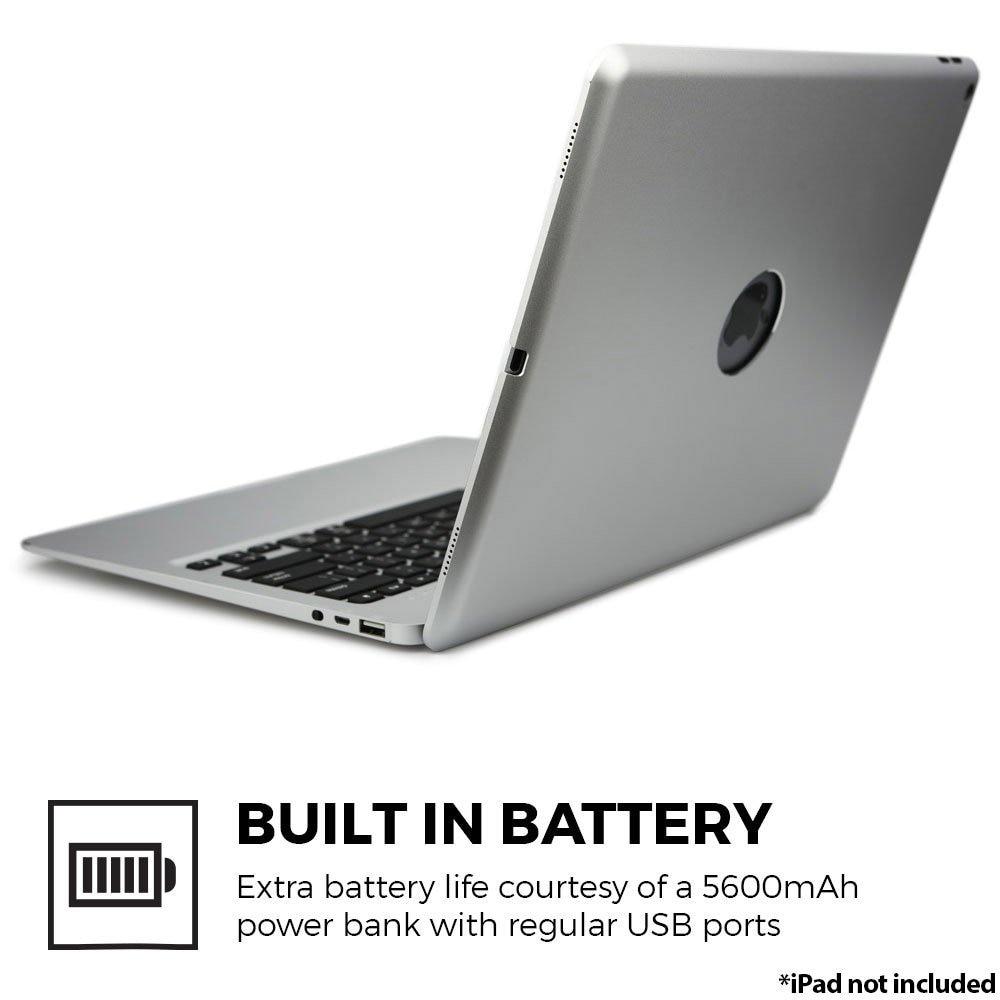 Keyboard on iPad Pro 12.9 - For iPad Pro 12.9  Bluetooth Keyboard Case, Aluminum Keyboard Folio Case Cover +5600 mAh External Battery+7 Colors Backlit