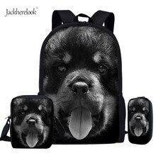 Jackherelook Black Rottweiler Puppy Cute Dog School Bags For