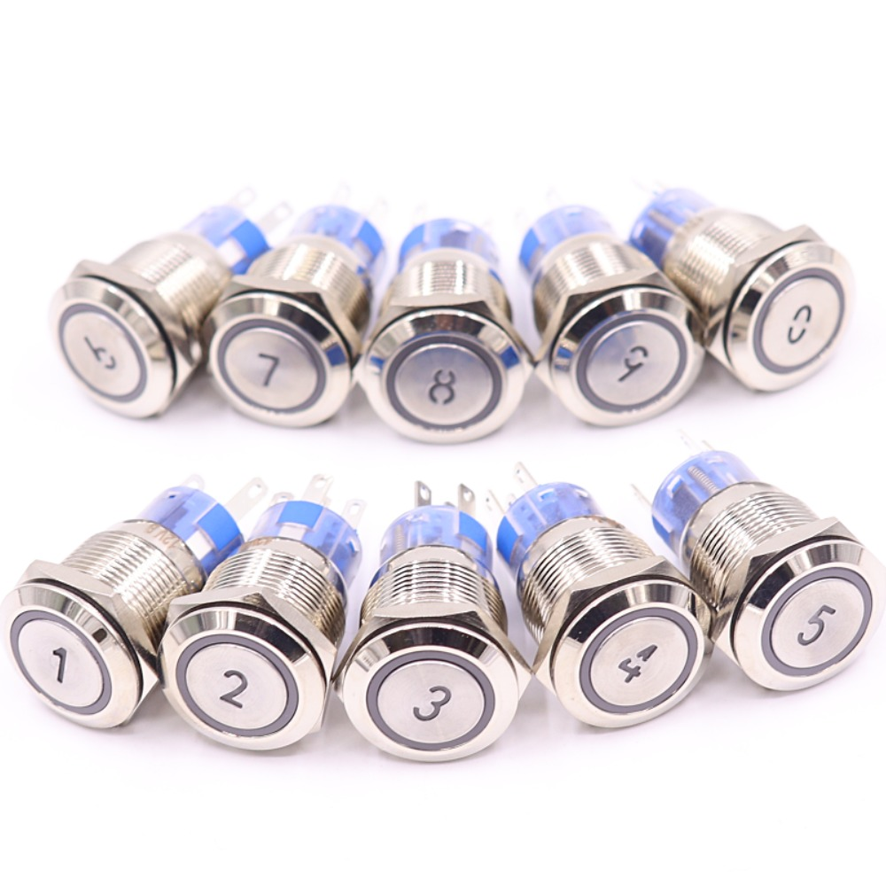 19mm Momentary Reset Waterproof Metal Push Button Switch Led Number Letter 0 <font><b>1</b></font> 2 <font><b>3</b></font> <font><b>4</b></font> <font><b>5</b></font> 6 7 8 9 10 Elevator Lift Custom-made image