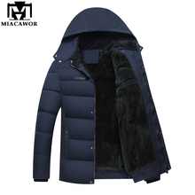 Mwxsd winter Hooded thick Parka jacket Men warm fur jacket and coat for -20 degree