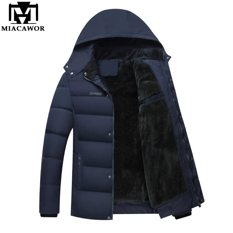MIACAWOR Casual Men Parka Fleece Winter Jacket Thicken Warm Jackets Hooded Overcoat Cotton-padded Jacket 2019 Mens Clothes J470