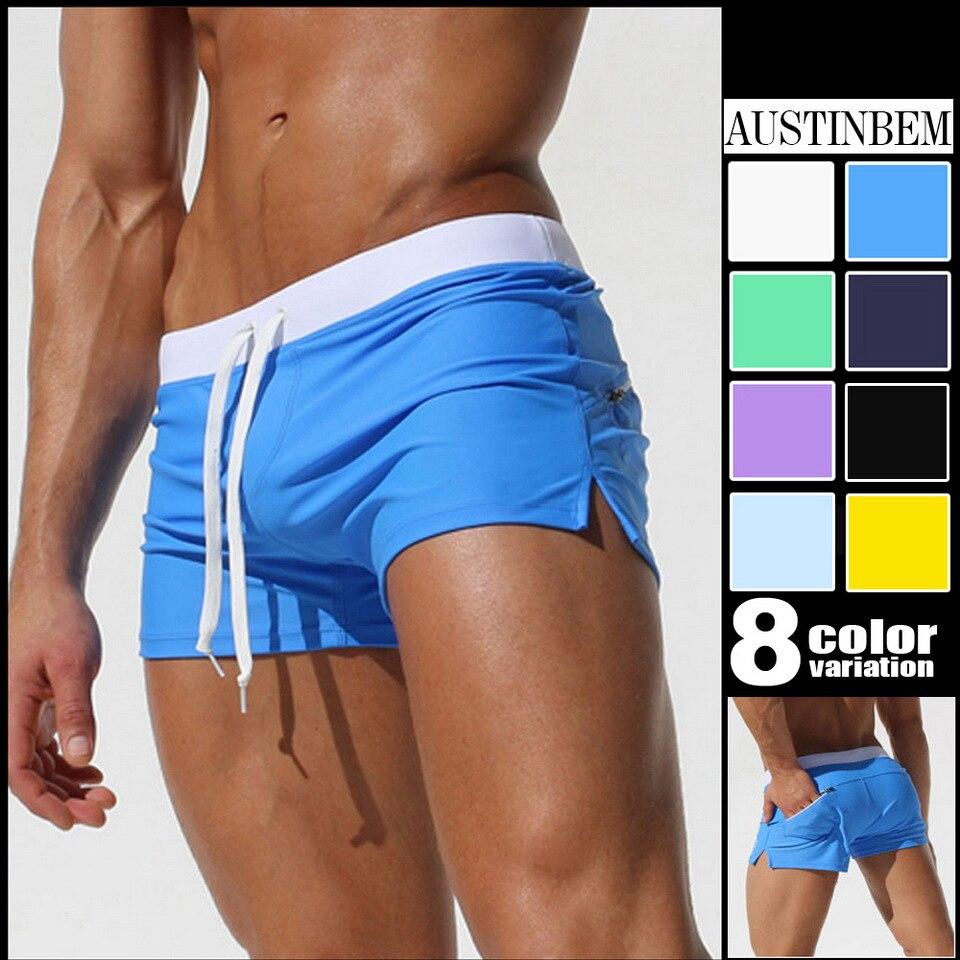 Mens Swimming trunks Beach Summer Slim Fit Spa Fashion Tight Boxer Printed