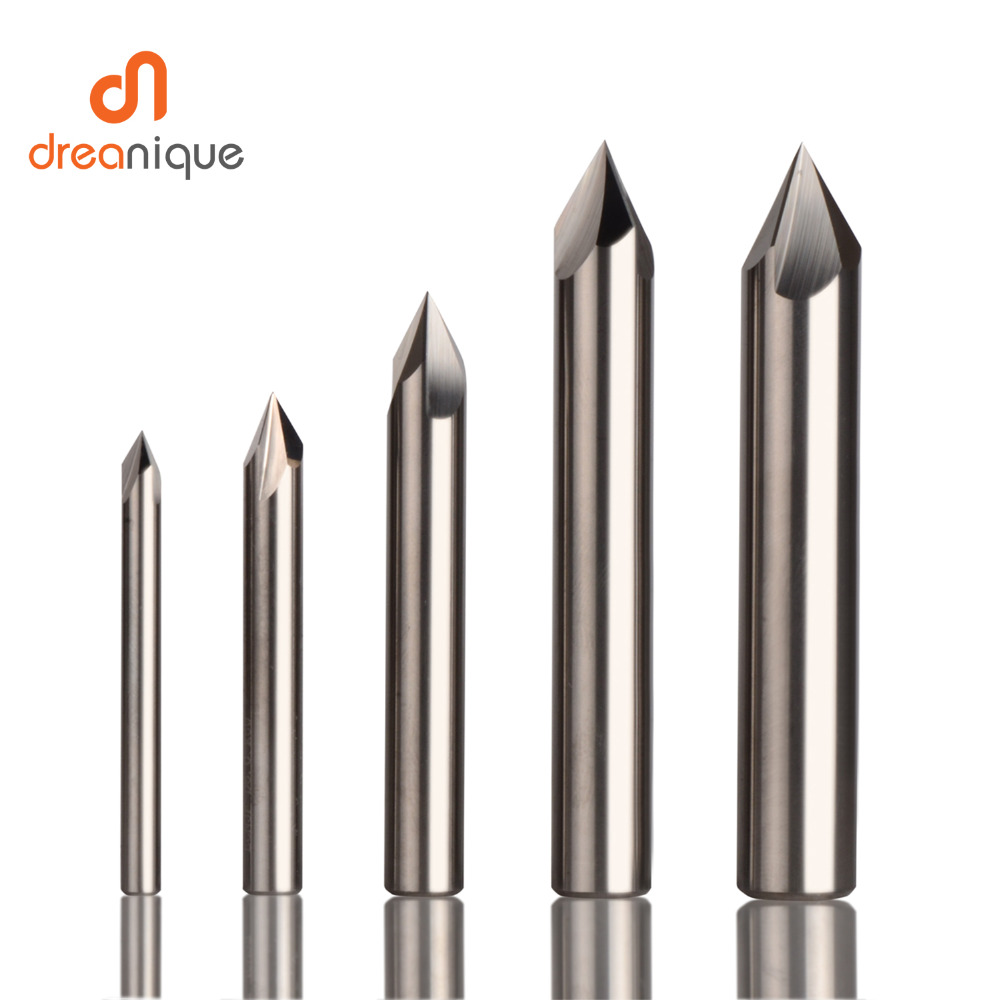 CNC Tungsten Carbide Chamfer Milling Cutter Aluminium Copper,60 90 120 DEG Deburring End Mill 90 Degree V Groove Router Bit