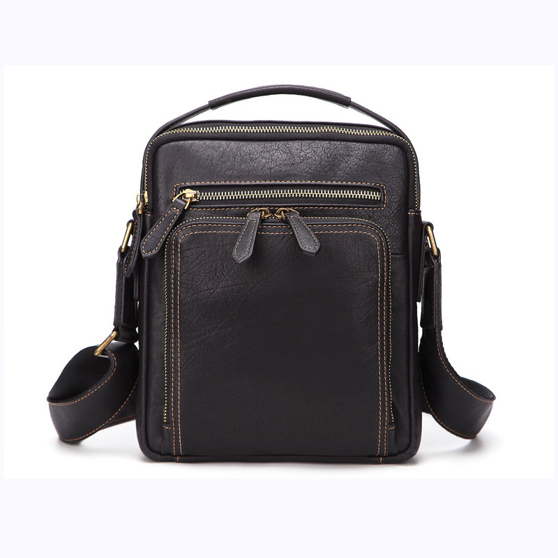 Men's new solid color horizontal square leather business shoulder bag retro casual wear portable diagonal package цена