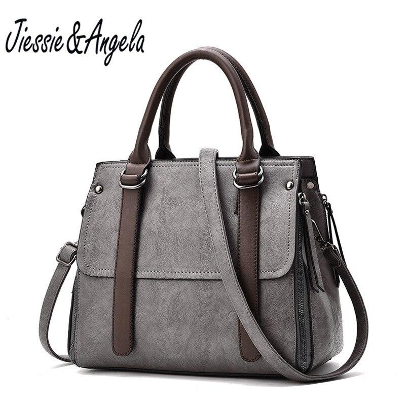 где купить Jiessie & Angela Famous Brand Leather Women Big Casual Tote Bags Solid Color Handbag High Quality Women Shoulder Purse по лучшей цене