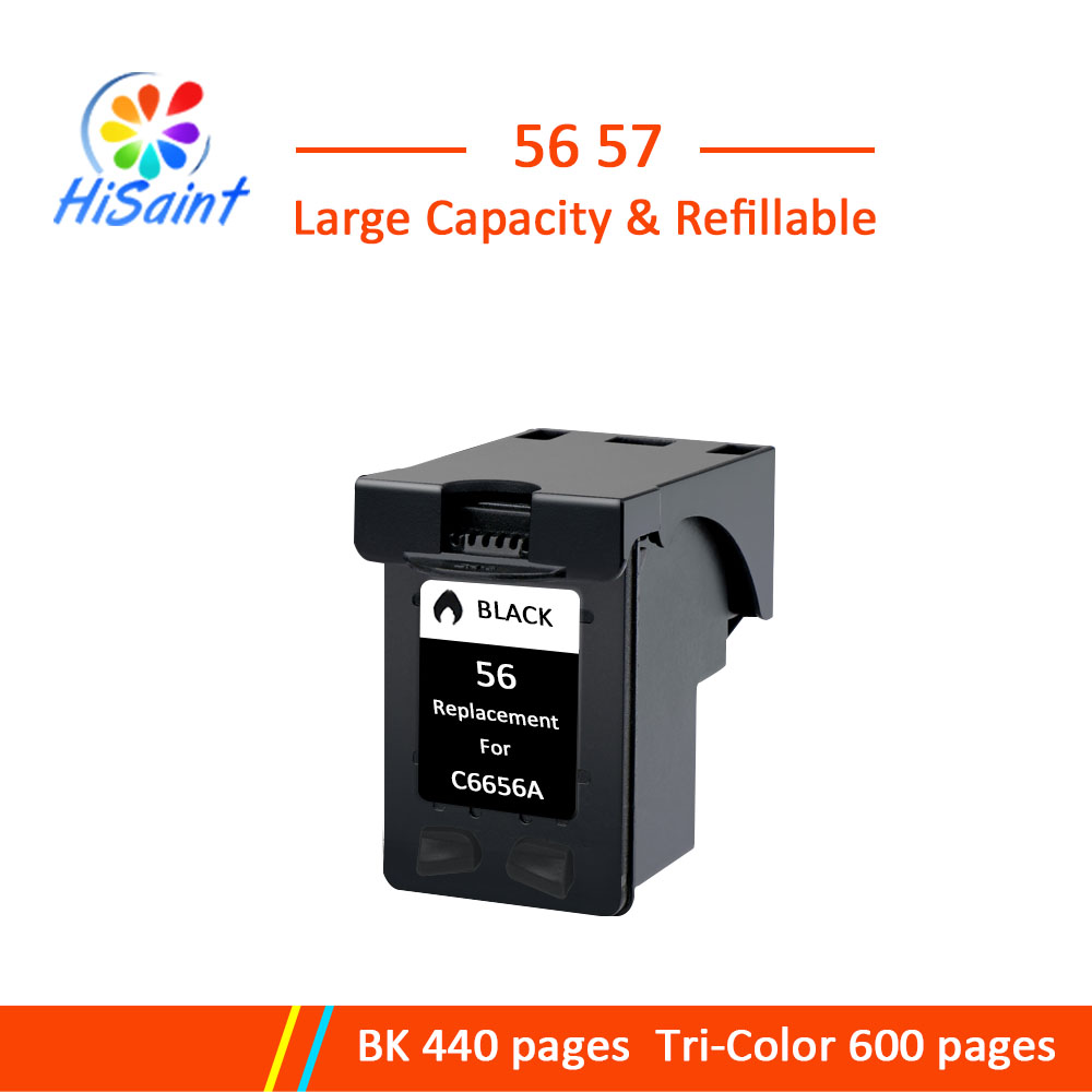 Hisaint 56XL Refilled Ink <font><b>Cartridge</b></font> Replacement for <font><b>hp</b></font> 56 C6656A BLACK For <font><b>HP</b></font> Deskjet 450CI <font><b>5550</b></font> 5552 7150 7350 7000 2100 2200 image