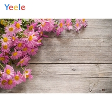Yeele Beautiful Pink Flowers Grey Planks Wooden Board Photography Backgrounds Customized Photographic Backdrops For Photo Studio
