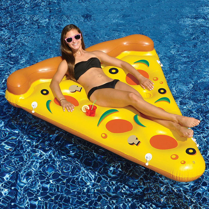 ФОТО Large Size 180cm Pizza Pool Floats Inflatable Toys with feet pump Summer Hot Giant Floating Bed Beach Game Toy Raft Air Mattress
