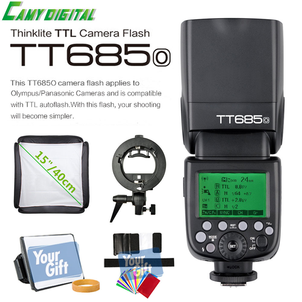 Godox TTL II TT685O Camera Flash 2.4G wireless HSS 1/8000s GN60+Godox S-Type Bracket+SoftBox(40cm/50cm) For Olympus/Panasonic godox tt685o ttl 2 4g wireless hss 1 8000s gn60 camera flash speedlite x1t o transmitter for olympus panasonic dmc fz2500gk
