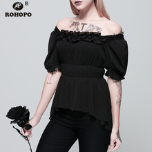 ROHOPO Butterfly Half Sleeve Chiffon Pullover Blouse High & Low Patchwork Lace Collar Vintage Gothic Female Blusa #92078