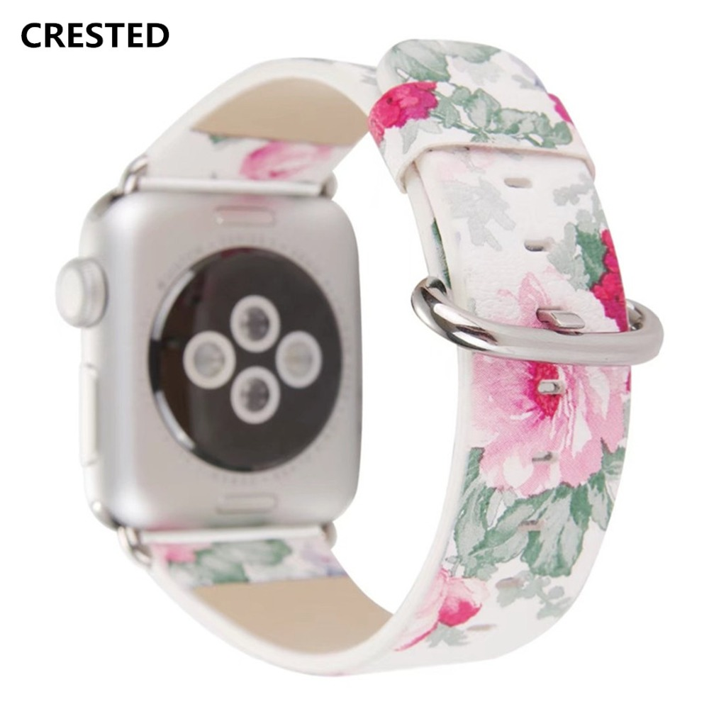 CRESTED Floral Leather Strap For Apple Watch band 44mm/42mm/40mm/38mm iwatch series 4 3 2 1 Wrist Flower Printed Bracelet beltCRESTED Floral Leather Strap For Apple Watch band 44mm/42mm/40mm/38mm iwatch series 4 3 2 1 Wrist Flower Printed Bracelet belt