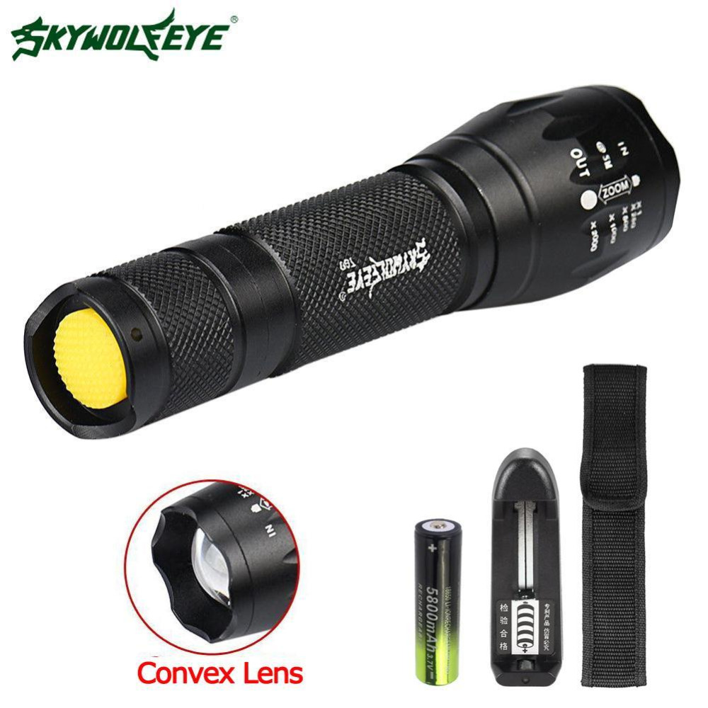 SKYWOLFEYETactical T6 LED Flashlight 18650 Battery Adjustable Focus Lantern 5 Modes Torch Waterproof Lamp+3.7V Charger