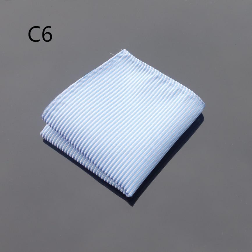 Ikepeibao Handkerchief Light Blue Striped Hanky Men's Jacquard Woven Pocket Square