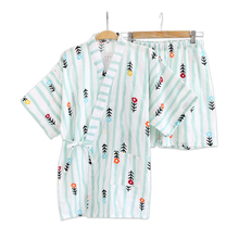 Fresh flower short kimono Pajamas sets women 100% cotton Japanese sakura green  pyjamas simple pijama a4f785dfd