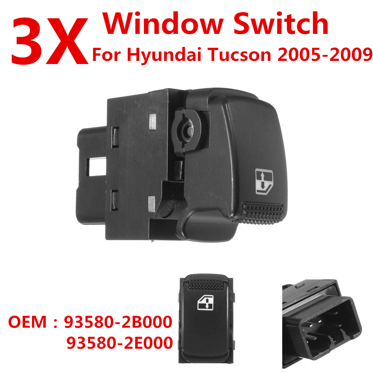 3X Car Electrical Window Glass Control Switch Button Front Right Rear Left Right 93580-2E000 For Hyundai Tucson 2005 2006 - 2009