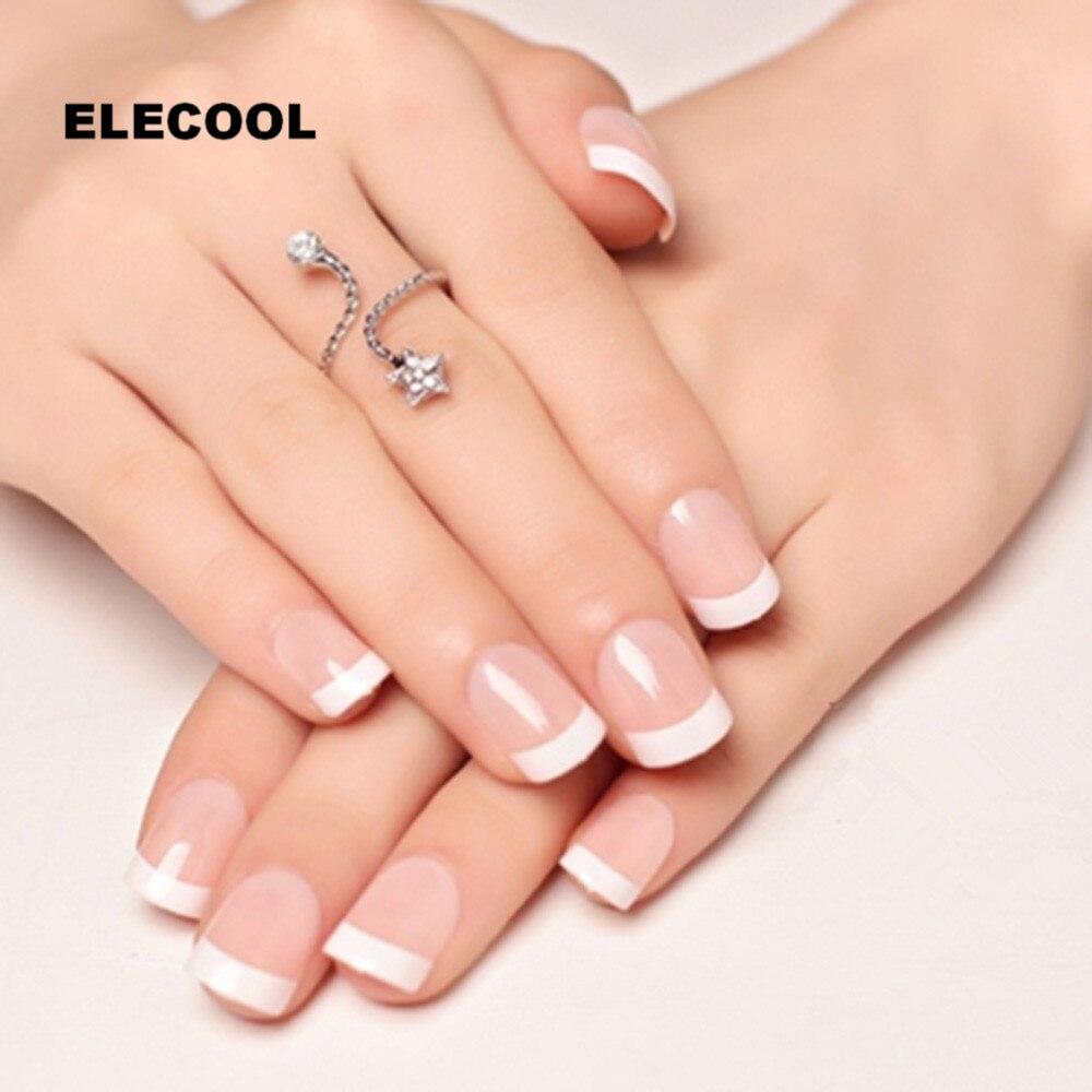 ELECOOL 24Pcs Natural Short False Nails Acrylic Round Short french ...