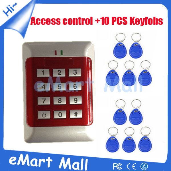 free shipping1000 user RFID Proximity access control systems+10 pieces EM keyfobs