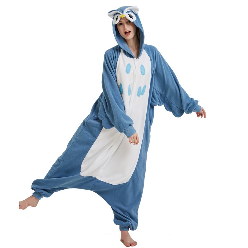 Polar Fleece Blue Owl Onesies For Women Pajamas Kigurumi Batwing Sleeve Long Sleepwear For Halloween Cosplay Parties For Adult (4)