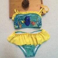 Retail Seal Force Two Pieces Rash Guard Kids Bikini Swimsuit Girls Sun Protection Anti Uv Swimwear