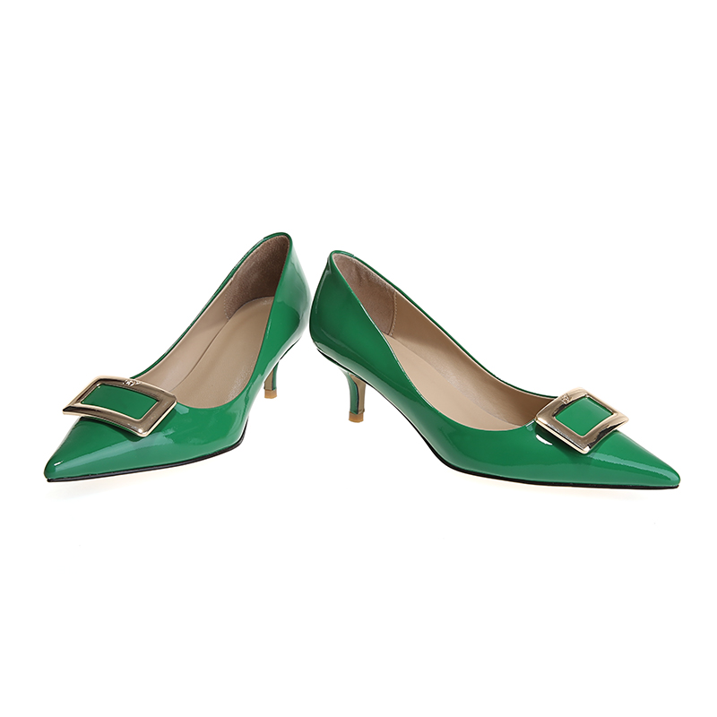 KoHuiJoo Spring Summer Wedges Pumps Genuine Leather Women Shoes Spike Heel  Pointed Toe Buckles High Heel Green Shoes for Ladies-in Women s Pumps from  Shoes ... bfebedce2d9f