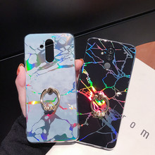 Crenisen cell phone ring holder cases for Honor 10 7A 7C marble For Huawei P20 lite Mate 20