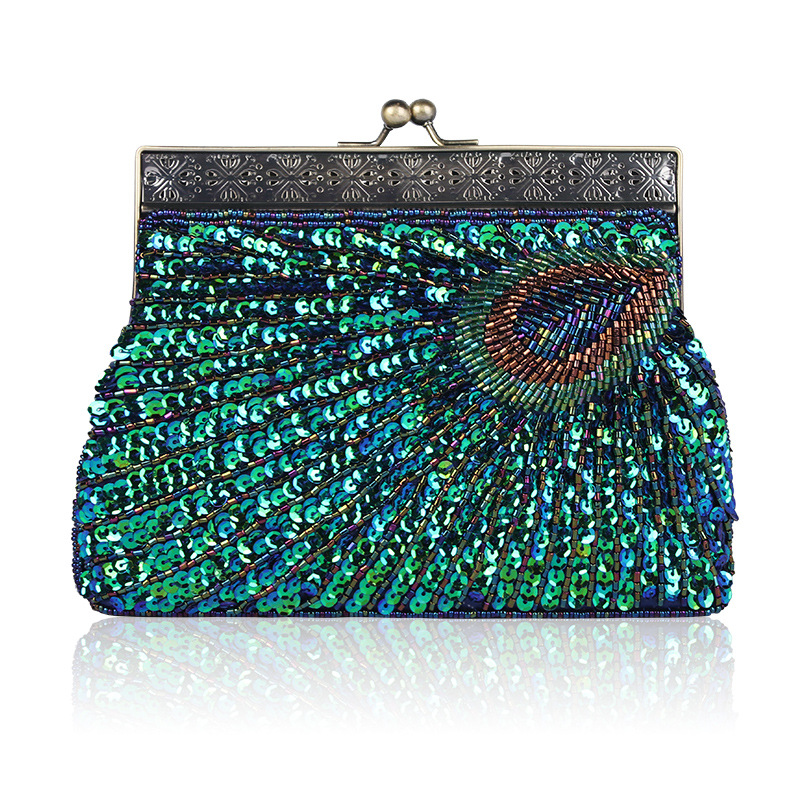 Peacock Sequined Women Evening Bag Vintage Green Beading Crossbody Shoulder Bags Bridal Wedding Party Clutches