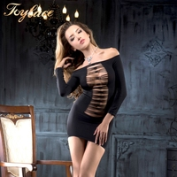 R6357 1PC Off shoulder long sleeves front and back crisscross Opaque sexy mini dresses