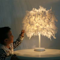 Muti Color Feather Table Lamps E27 Hotel Home Decorative Desk Lamp For Bedroom Bedside Lamp Fixture